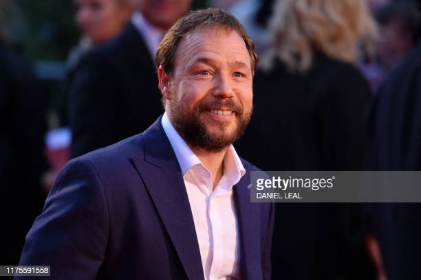 "British actor Stephen Graham arrives to attend the international premiere of the film ""The Irishman"" during the closing night gala of the 2019 BFI..."