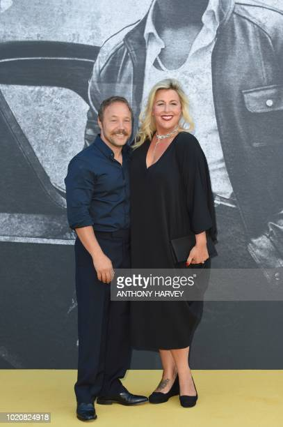 British actor Stephen Graham poses with British actress Hannah Walters on the red carpet at the UK premiere of Yardie in central London on August 21...