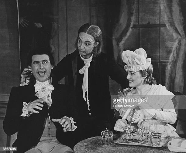 British actor Stewart Granger in a scene from 'The Devil's Disciple' by George Bernard Shaw, staged by the Old Vic Theatre Company at the Buxton...