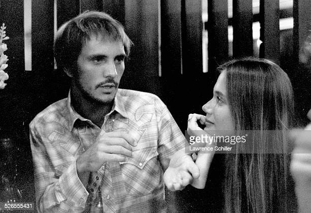British actor Terence Stamp and American actress Peggy Lipton talk during a break in production of the film 'Blue' Moab Utah 1967 Stamp plays the...