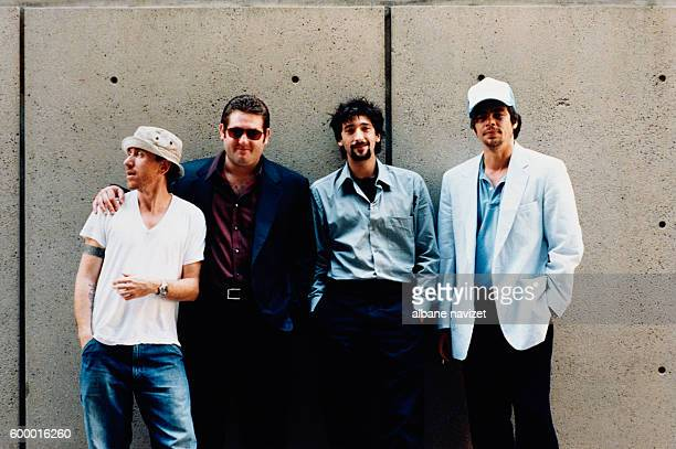 British actor Tim Roth American actors Chris Penn Adrien Brody and Puerto Rican actor Benicio Del Toro on the set of Bread and Roses directed by Ken...