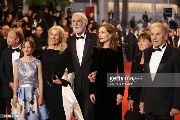 British actor Toby Jones Belgian actress Fantine Harduin Austrian director Michael Haneke and his wife Susi Haneke French actress Isabelle Huppert...