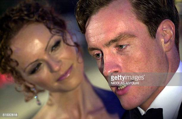 British actor Toby Stephens who plays villain character Gustav Graves arrives with his wife for the World Premiere of the new James Bond film 'Die...