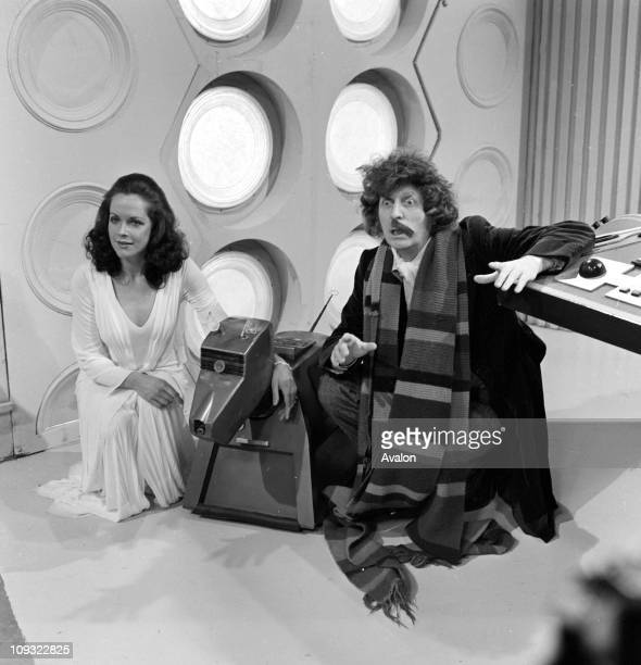 British actor Tom Baker who plays the Doctor in the BBC Television Series Dr Who Pictured here with his assistant Romana played by Mary Tamm and the...