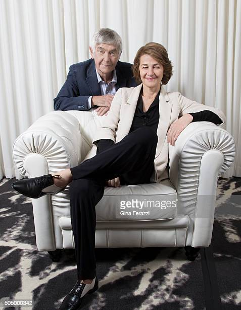 British actor Tom Courtenay and Charlotte Rampling are photographed for Los Angeles Times on November 12 2015 in Los Angeles California PUBLISHED...