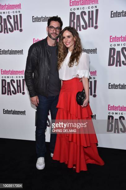 British actor Tom Ellis and US screenwriter Meaghan Oppenheimer arrive for the Entertainment Weekly Annual Comic Con Party at Comic Con in San Diego,...