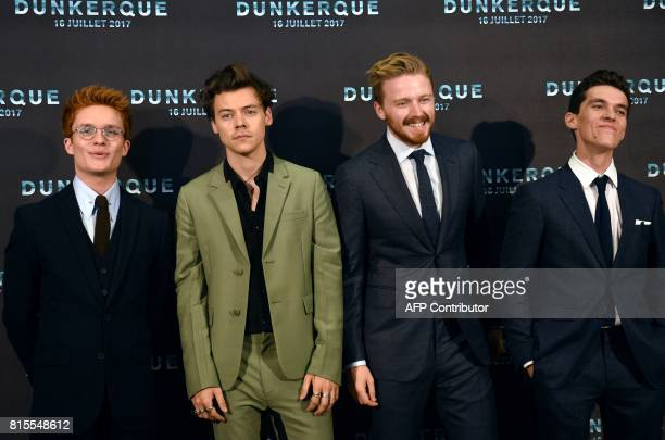 British actor Tom GlynnCarney British singer songwriter and actor Harry Styles British actor Jack Lowden and British actor Fionn Whitehead pose on...