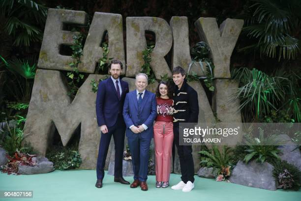 British actor Tom Hiddleston British director Nick Park British actress Maisie Williams and British actor Eddie Redmayne pose on the carpet arriving...