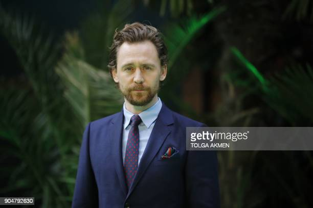 British actor Tom Hiddleston poses on the carpet arriving to attend the world premiere of the film Early Man in London on January 14 2018 / AFP PHOTO...