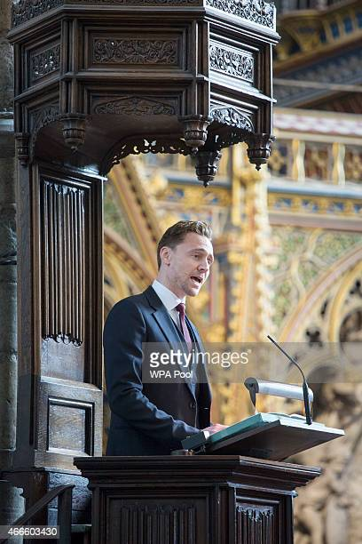 British actor Tom Hiddleston speaks at a service of thanksgiving for the life and work of Lord Attenborough CBE at Westminster Abbey on March 17 2015...