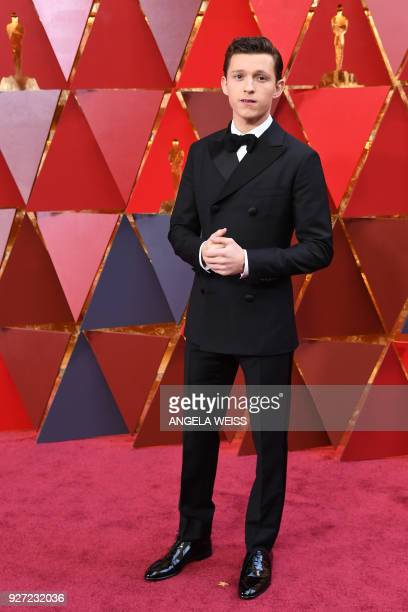 British actor Tom Holland arrives for the 90th Annual Academy Awards on March 4 in Hollywood California / AFP PHOTO / ANGELA WEISS