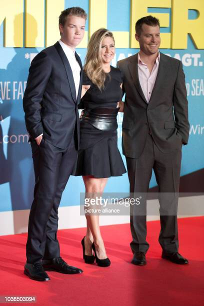 British actor Will Poulter American actress Jennifer Aniston and American director Rawson Thurber arrive for the German premiere of the movie 'We're...