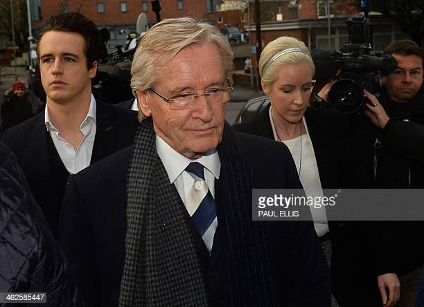 British actor William Roache who plays Ken Barlow in television drama Coronation Street arrives at Preston Crown Court on January 14 in Preston...