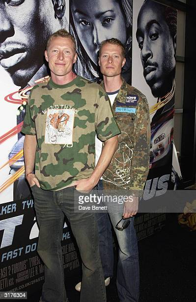British actors Adrian and Neil Rayment arrive at the UK premiere of the film '2 Fast 2 Furious' at the Warner Brothers Cinema West End on June 9 2003...