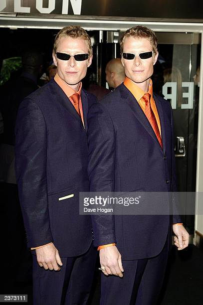 British actors Adrian and Neil Rayment attend premiere of 'The Matrix Reloaded' at the Odeon Leicester Square on May 21 2003 in London