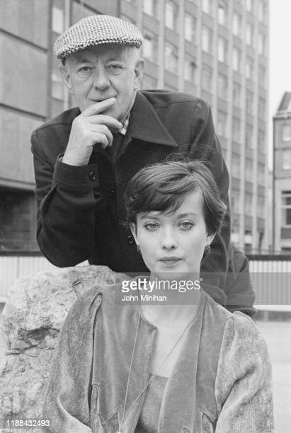 British actors Alec Guinness and Nicola Pagett, co-stars in 'Yahoo' at the Queen's Theatre, London, UK, 27th August 1976.