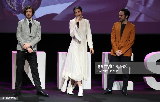 British actors Alexander Vlahos Elisa Lasowski and George Blagden speak on stage during the presentation of the series 'Versailles' at the opening of...