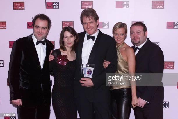 British actors and actresses James Nesbitt Helen Baxendale Robert Bathurst Hermione Norris and John Thomson attend the British Comedy Awards 2002...