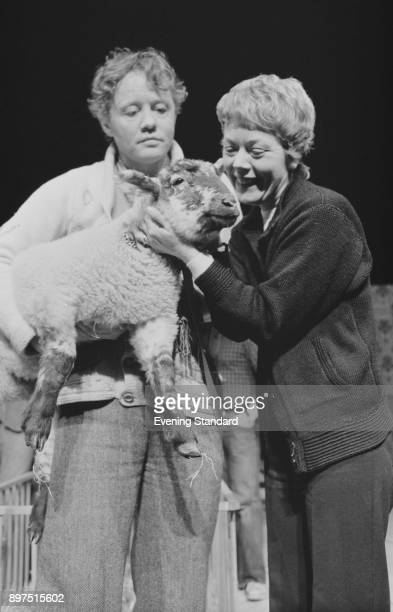 British actors Annette Crosbie and Dudley Sutton with a sheep UK 13th April 1977