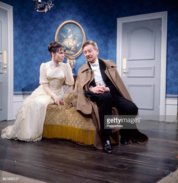 British actors Claire Bloom and John Gielgud perform together in a scene from the television drama series 'Play Of The Week Ivanov' in 1966