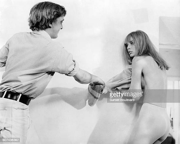 British actors David Hemmings and Jane Birkin on the set of Blowup written and directed by Michelangelo Antonioni