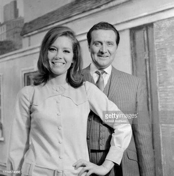 British actors Diana Rigg and Patrick Macnee known from the TV series 'The Avengers' at Hamburg Germany circa 1966
