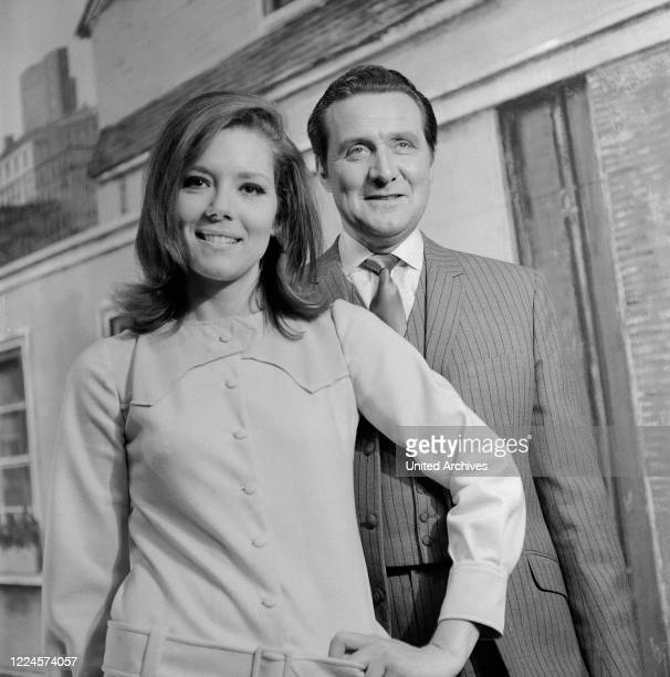 British actors Diana Rigg and Patrick Macnee, known from the TV series 'The Avengers', at Hamburg, Germany circa 1966.