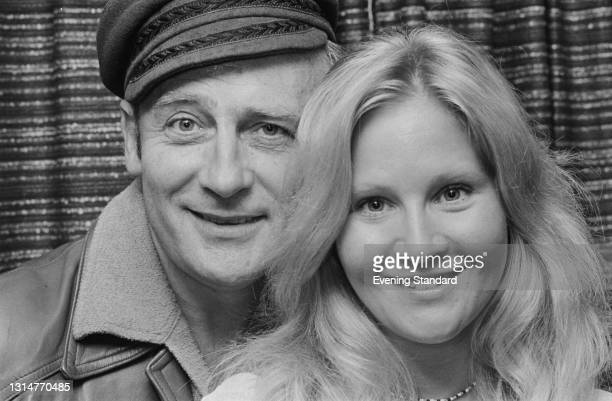 British actors Edward Woodward and Michele Dotrice, who are starring together in the stage play 'The Male of the Species', UK, 21st August 1974. The...