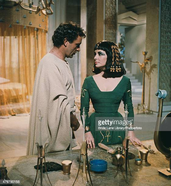 British actors Elizabeth Taylor and Richard Burton star as the doomed lovers in the film 'Cleopatra' 1963