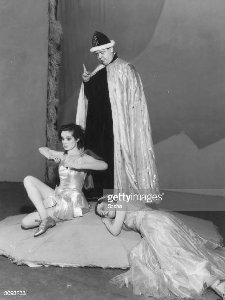 British actors Elsa Lanchester Charles Laughton and Ursula Jeans in a production of Shakespeare's 'The Tempest'