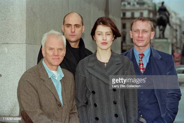 British actors from left Malcolm McDowell Mark Strong Gina McKee and Daniel Craig pictured together attending a press launch for the BBC television...