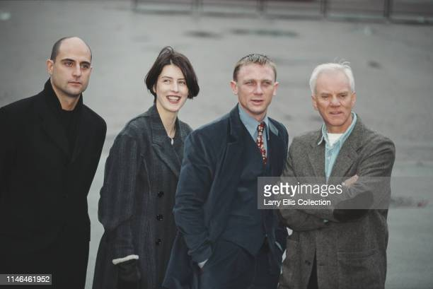 British actors from left Mark Strong Gina McKee Daniel Craig and Malcolm McDowell pictured together attending a press launch for the BBC television...