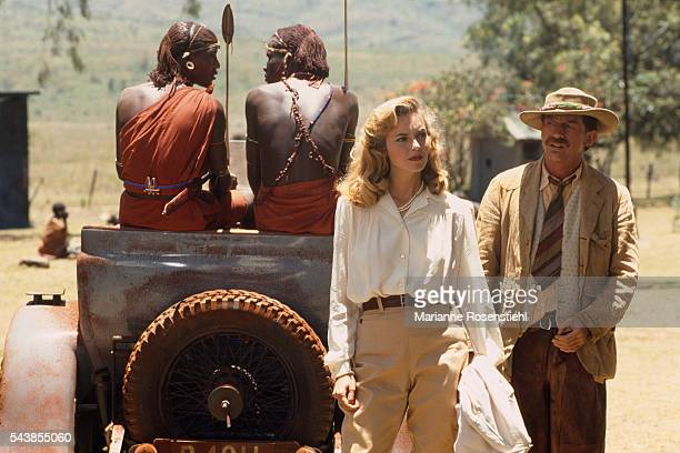 British actors Greta Scacchi and John Hurt on the set of White Mischief by British director screenwriter actor and producer Michael Radford
