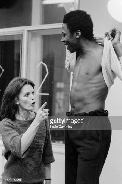 British actors Hugh Quarshie and Judy Loe rehearsing for 'The Admirable Crichton' at the Royal Exchange in Manchester, UK, 11th December 1984.