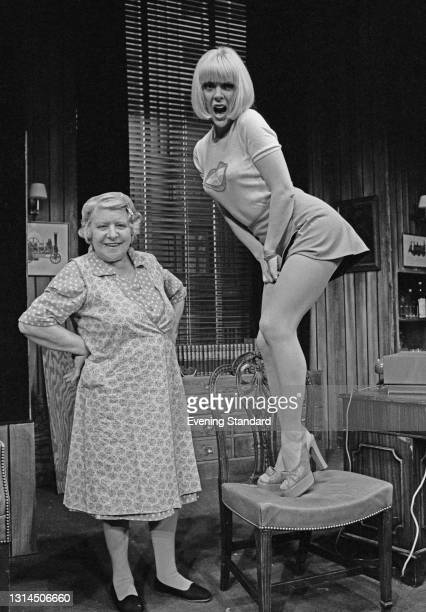British actors Irene Handl and Aimi MacDonald star in the new stage comedy 'Dead Easy' by Jack Popplewell at St Martin's Theatre in London, UK, 24th...
