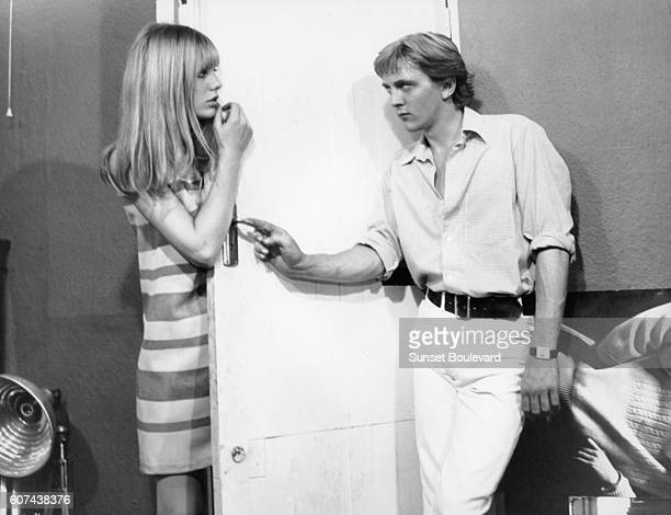 British actors Jane Birkin and David Hemmings on the set of Blowup written and directed by Michelangelo Antonioni