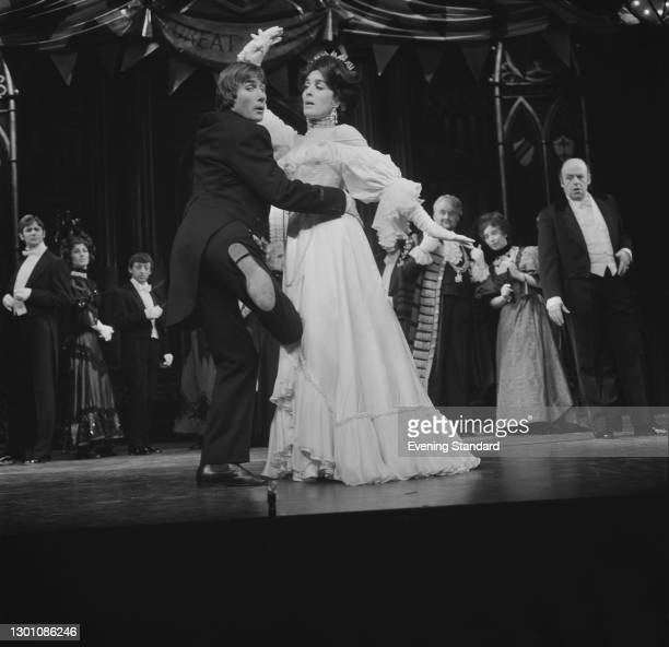 British actors Jim Dale and Eleanor Bron rehearsing for a stage production of the Arnold Bennett play 'The Card' at the Queen's Theatre in London,...