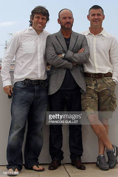 British actors John Bishop Mark Womack and Trevor Williams pose during the photocall 'Route Irish' presented in competition at the 63rd Cannes Film...