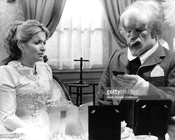 British actors John Hurt, as John Merrick, and Hannah Gordon as Ann Treves, in 'The Elephant Man', directed by David Lynch, 1980.