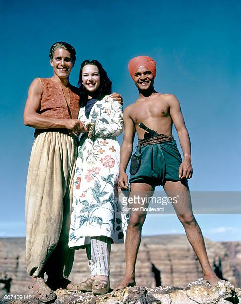 British actors John Justin June Duprez and Indian actor Sabu on the set of The Thief of Bagdad