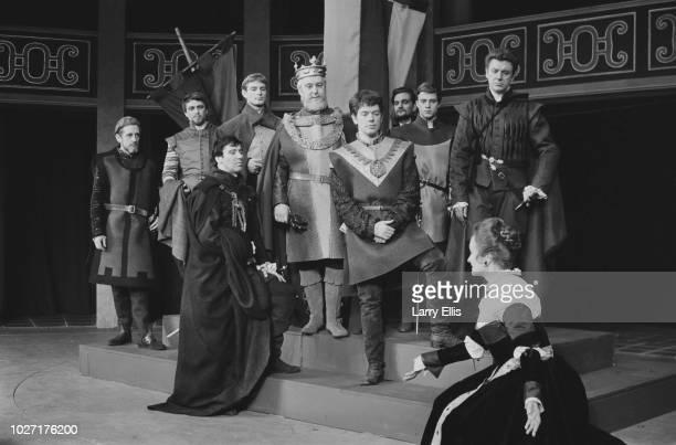 British actors Josephine Wilson as 'Lady Macbeth' and John Woodvine as 'Macbeth' and costars starring in the play 'Macbeth' at the Mermaid Theatre...