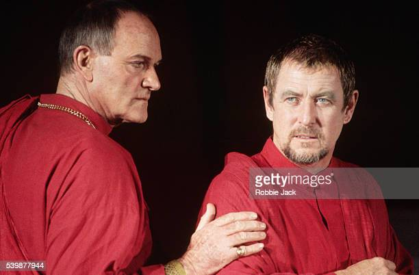 British actors Julian Glover and John Nettles performing in a Royal Shakespeare Company production of Julius Caesar.