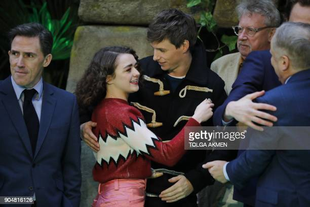 British actors Maisie Williams and Eddie Redmayne are seen on the carpet arriving to attend the world premiere of the film Early Man in London on...