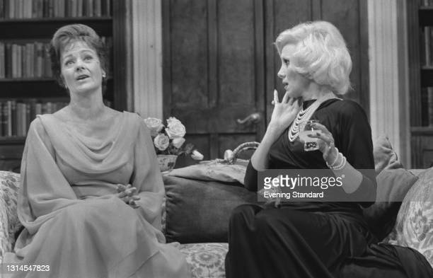 British actors Margaret Lockwood and Joyce Blair appear in the play 'Relative Values' by Noël Coward at the Westminster Theatre in London, UK, 7th...