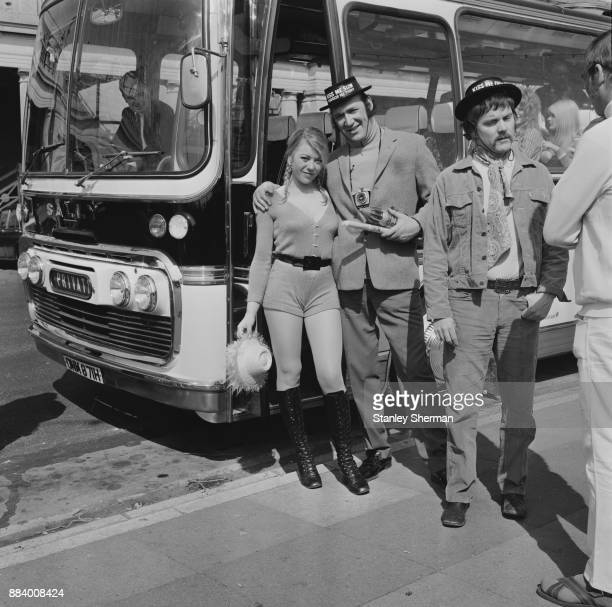 British actors Margaret Nolan as 'Popsy' and Bernard Bresslaw as 'Bernie Hulke' on the set of film 'Carry On at Your Convenience' directed by Gerald...