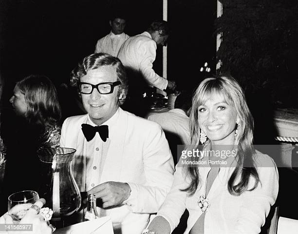 British actors Michael Caine and Suzy Kendall take part at the Red Cross Gala Dinnner Monte Carlo 1971