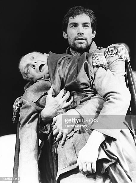 British actors Morgan Sheppard as Caesar and Timothy Dalton as Anthony in Shakespeare's Rome at the Mermaid Theatre 1981