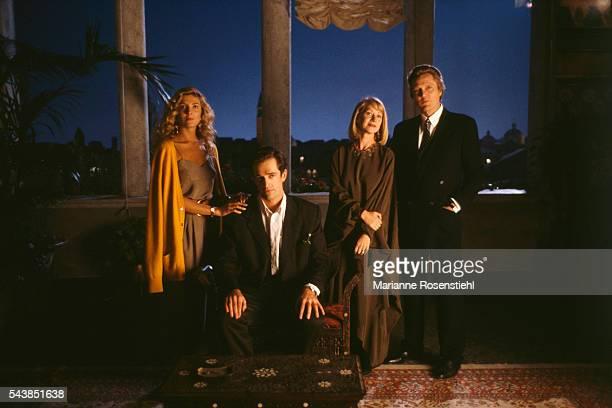 British actors Natasha Richardson Rupert Everett and Helen Mirren and American actor Christopher Walken on the set of The Comfort of Strangers by...