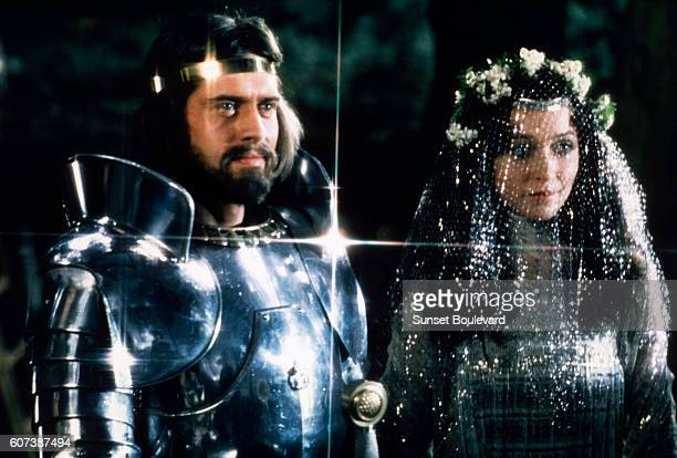 British actors Nigel Terry and Cherie Lunghi as King Arthur and Queen Guenevere in the wedding scene from the 1981 film Excalibur directed by British...