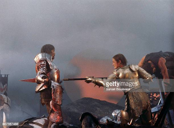 British actors Nigel Terry as King Arthur and Robert Addie as Mordred in the 1981 film Excalibur directed by British director John Boorman